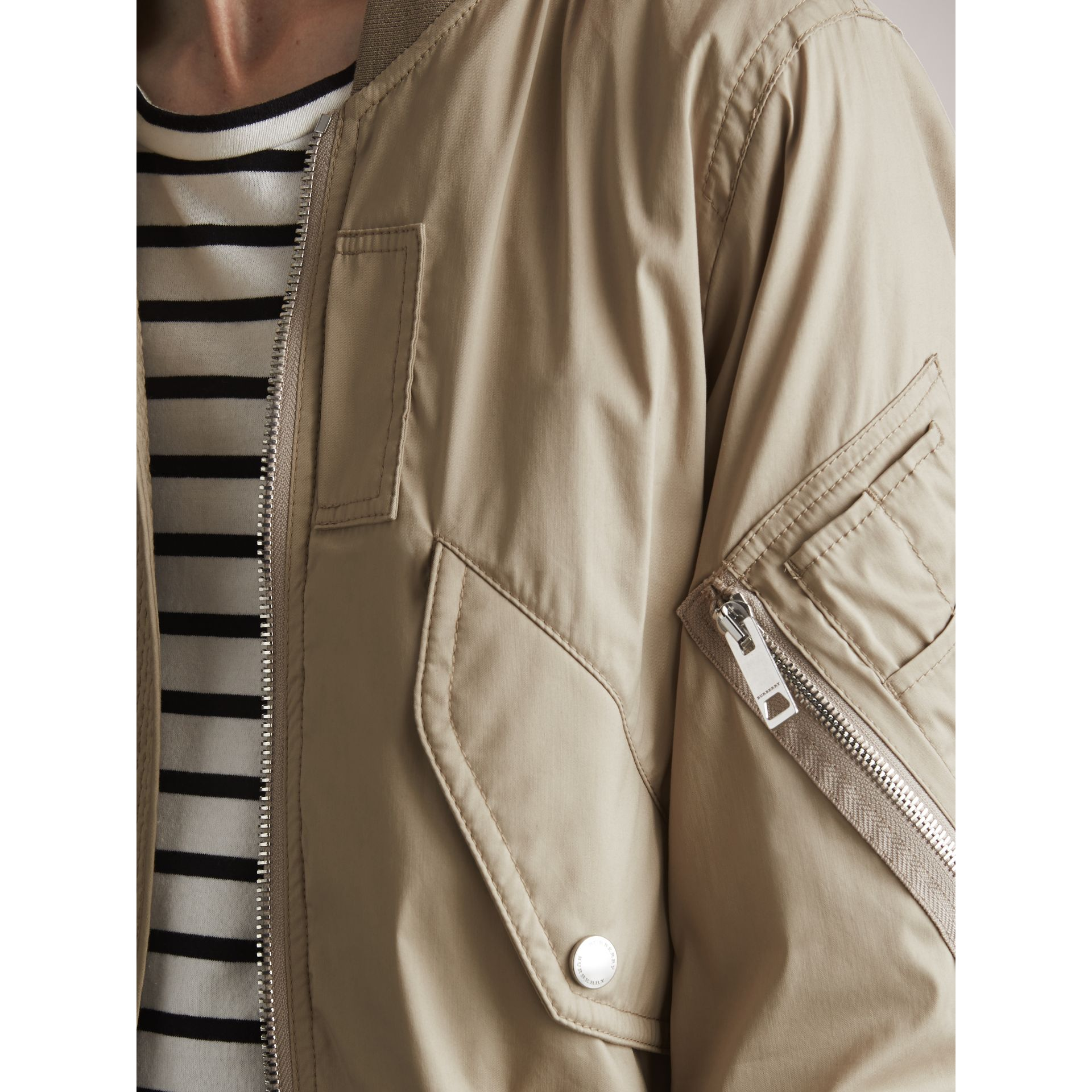 Cotton Blend Twill Bomber Jacket in Taupe - Men | Burberry - gallery image 2