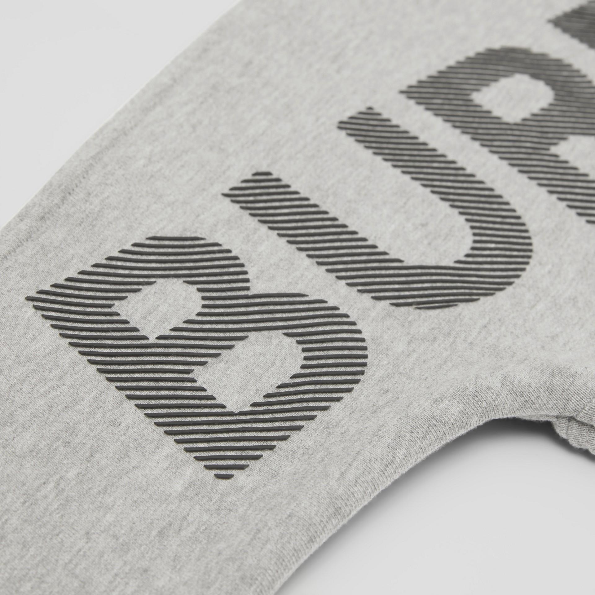 Logo Print Cotton Sweatshirt in Grey Melange/black   Burberry United States - gallery image 1