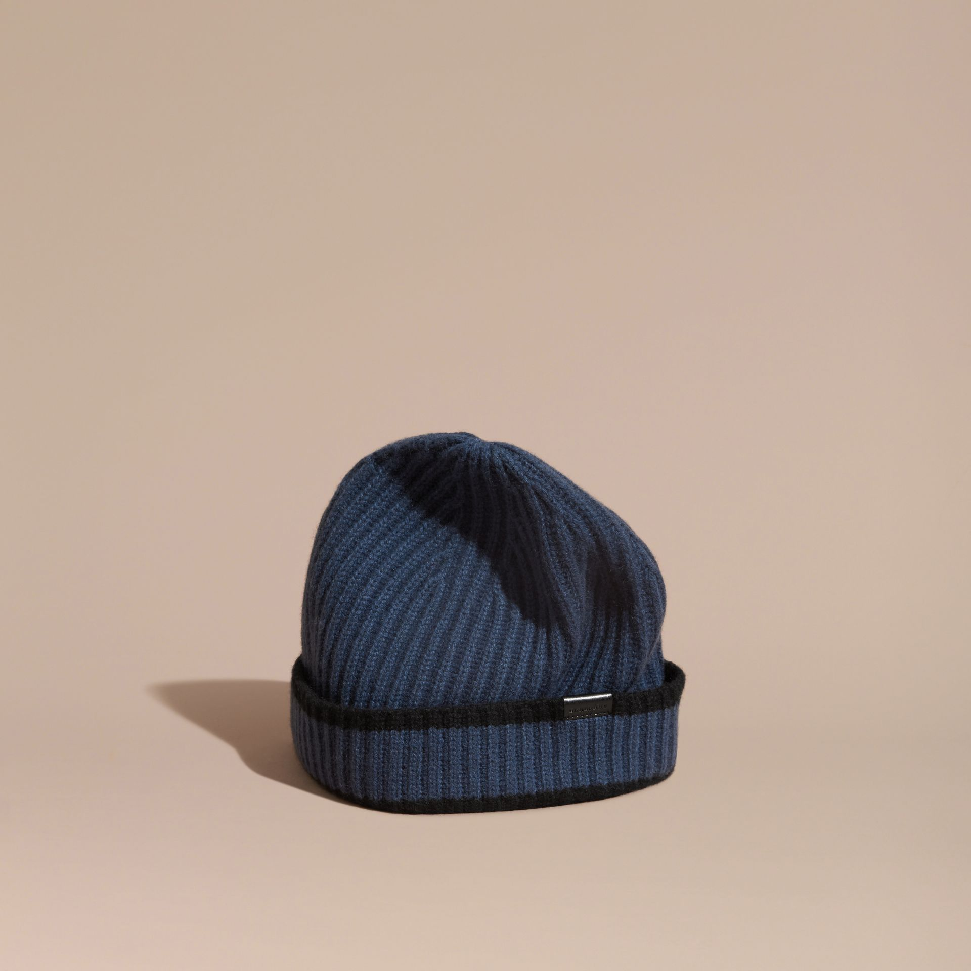 Brt navy blue/black Ribbed Cashmere Tipped Beanie - gallery image 1