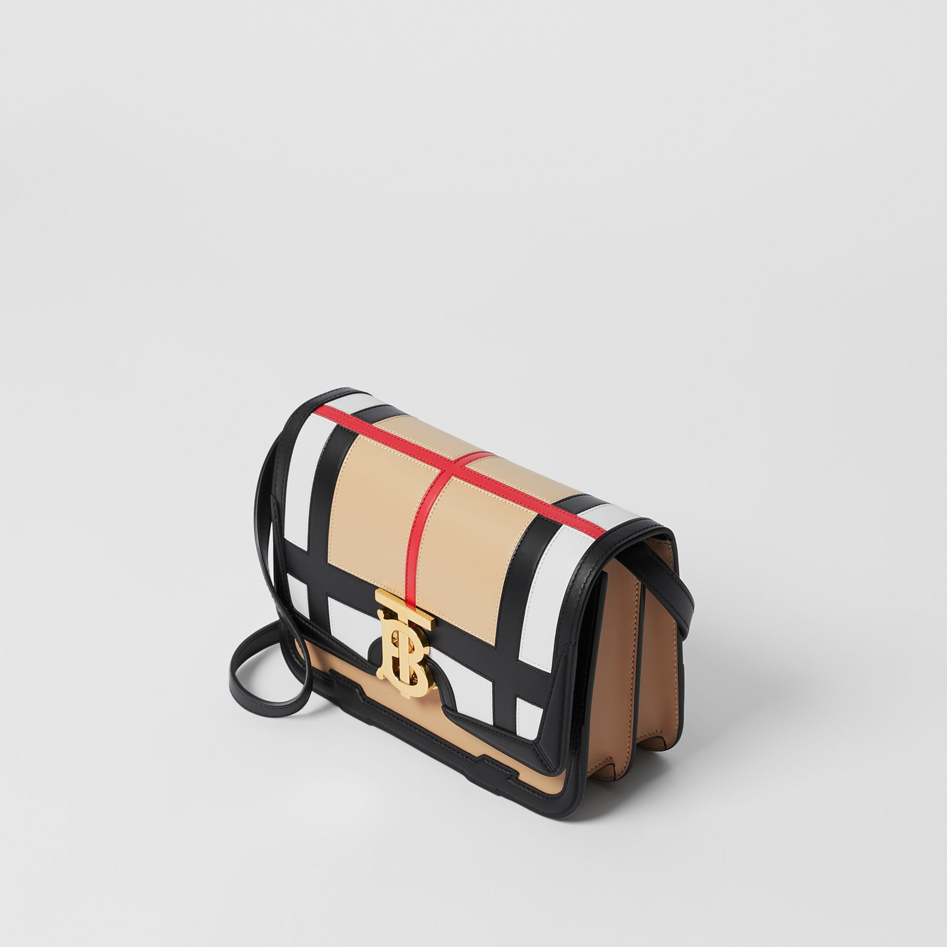 Small Check Appliqué Leather TB Bag in Black - Women | Burberry - gallery image 2
