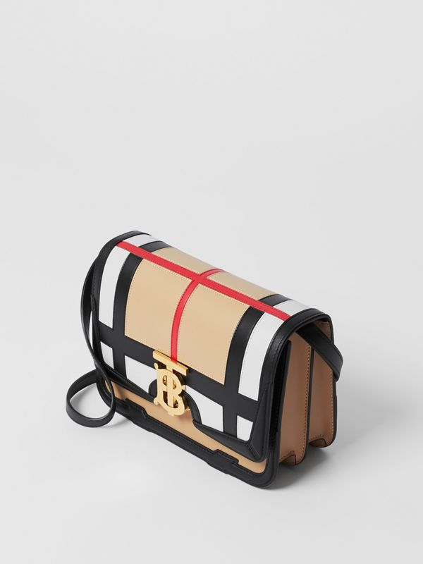 Small Check Appliqué Leather TB Bag in Black - Women | Burberry - cell image 2
