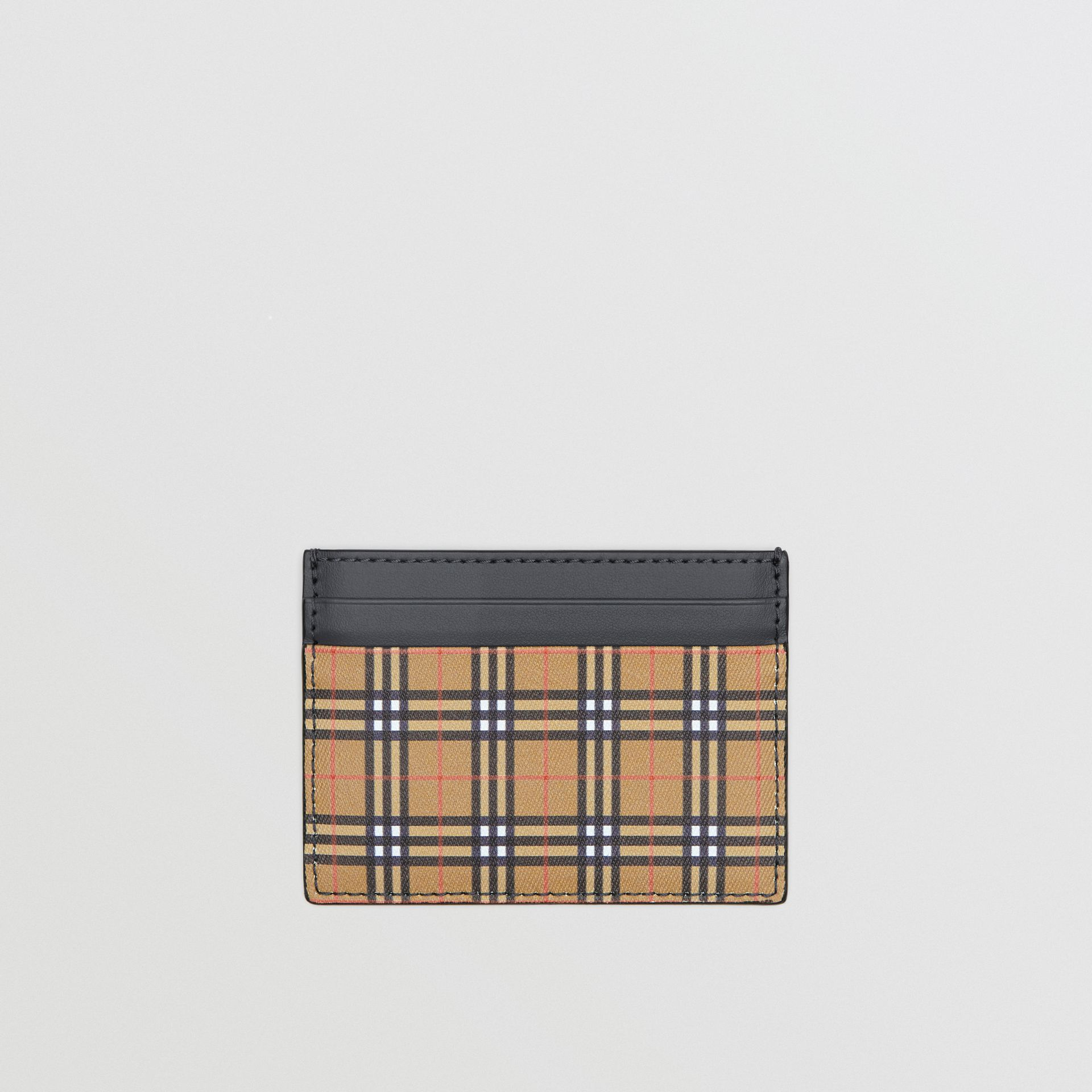 Vintage Check and Leather Card Case in Antique Yellow/dark Grey - Men | Burberry Hong Kong - gallery image 0