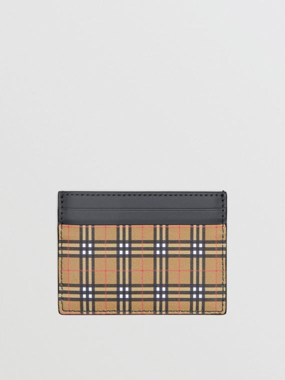 Vintage Check and Leather Card Case in Antique Yellow/dark Grey