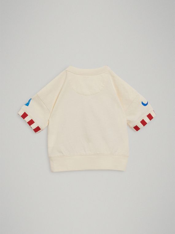 Postcard Motif Cotton T-shirt in Chalk White | Burberry - cell image 3