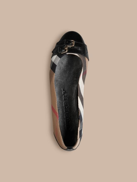 Bridle House Check Ballerinas in Black - Women | Burberry Hong Kong - cell image 2