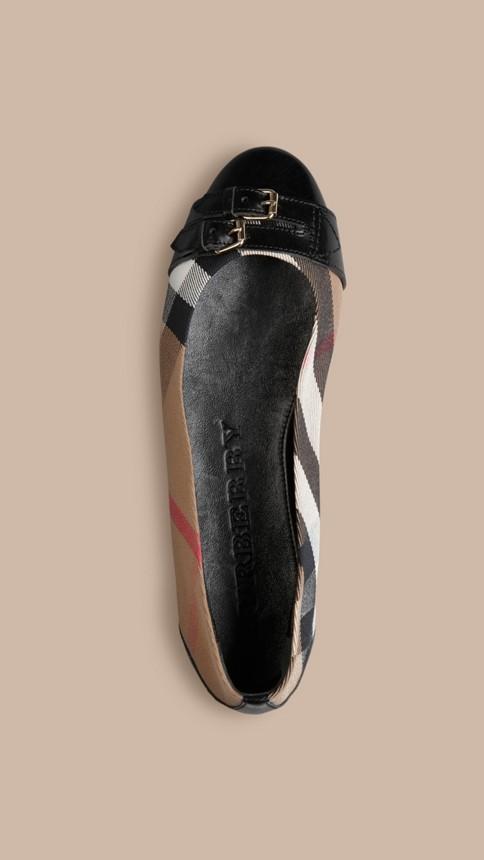 Noir Ballerines à bride avec motif House check Noir - Image 3
