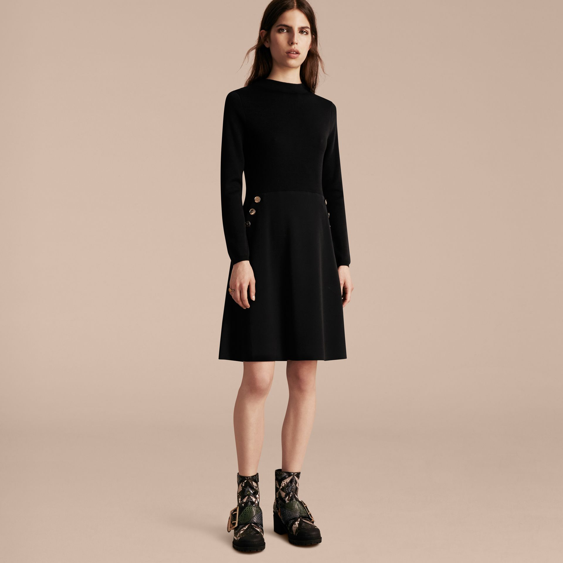 Black Long-sleeved Silk Wool Military Dress - gallery image 6
