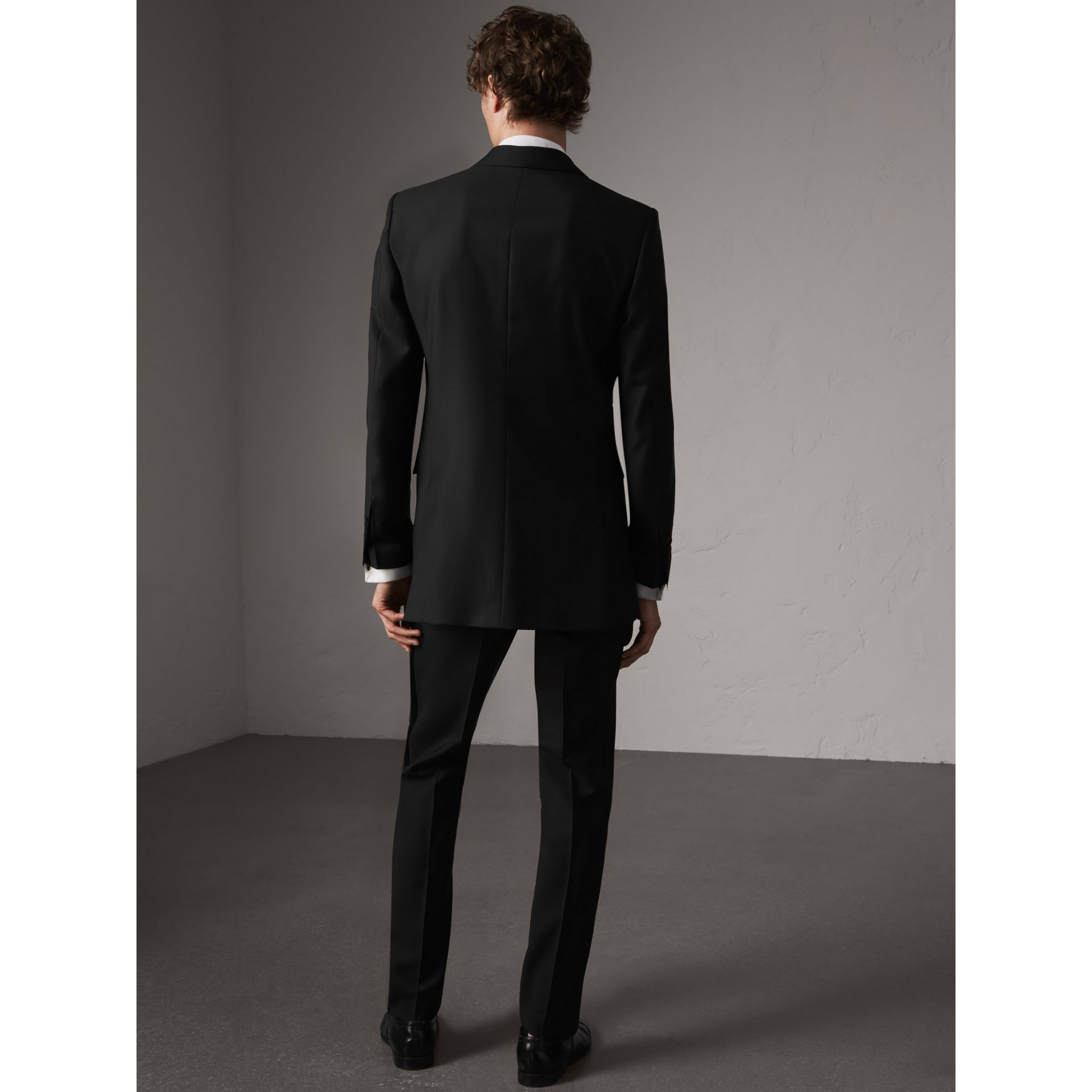 Modern Fit Wool Mohair Half-canvas Tuxedo in Black - Men | Burberry - gallery image 3