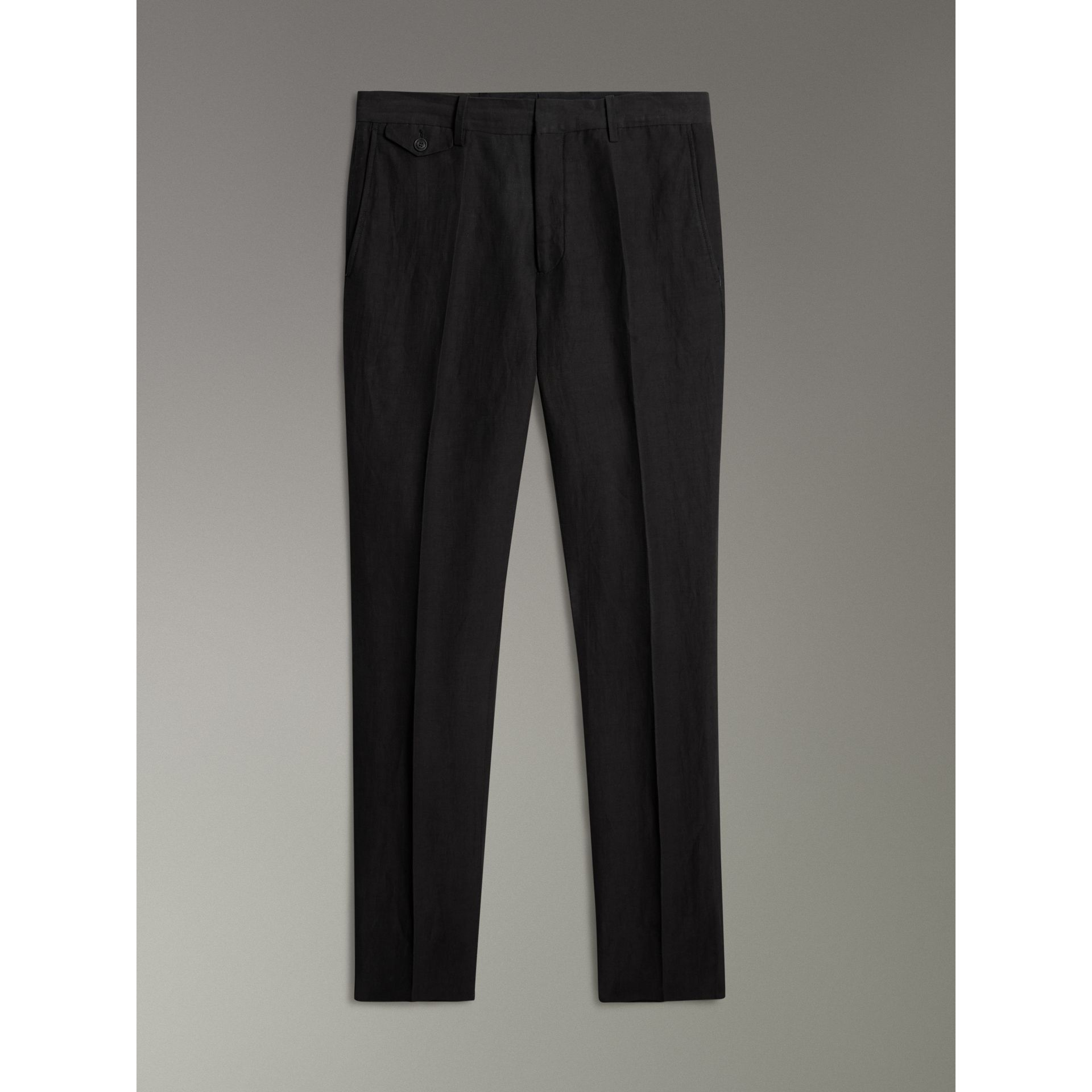 Linen Silk Tailored Trousers in Black - Men | Burberry - gallery image 3