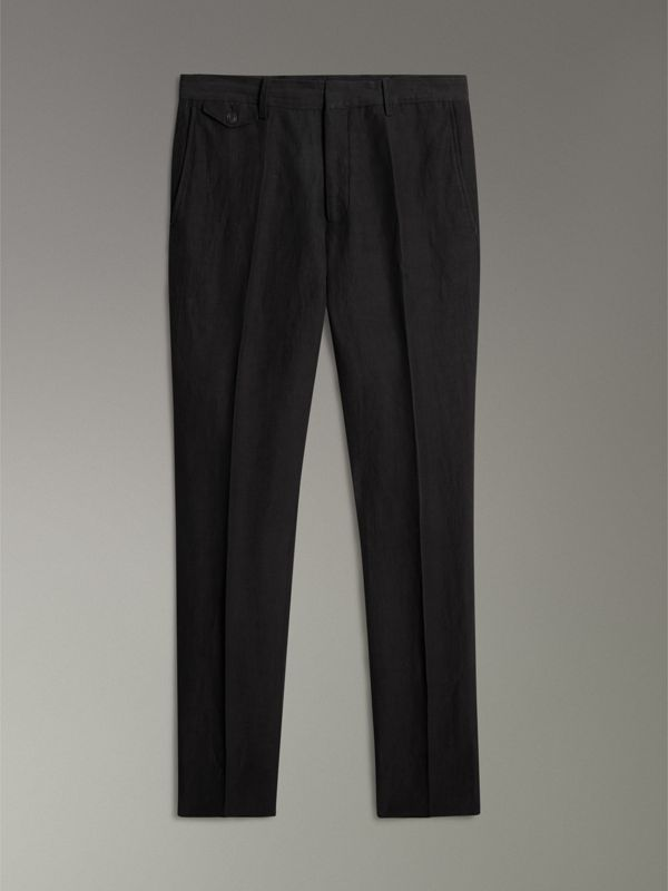 Linen Silk Tailored Trousers in Black - Men | Burberry - cell image 3