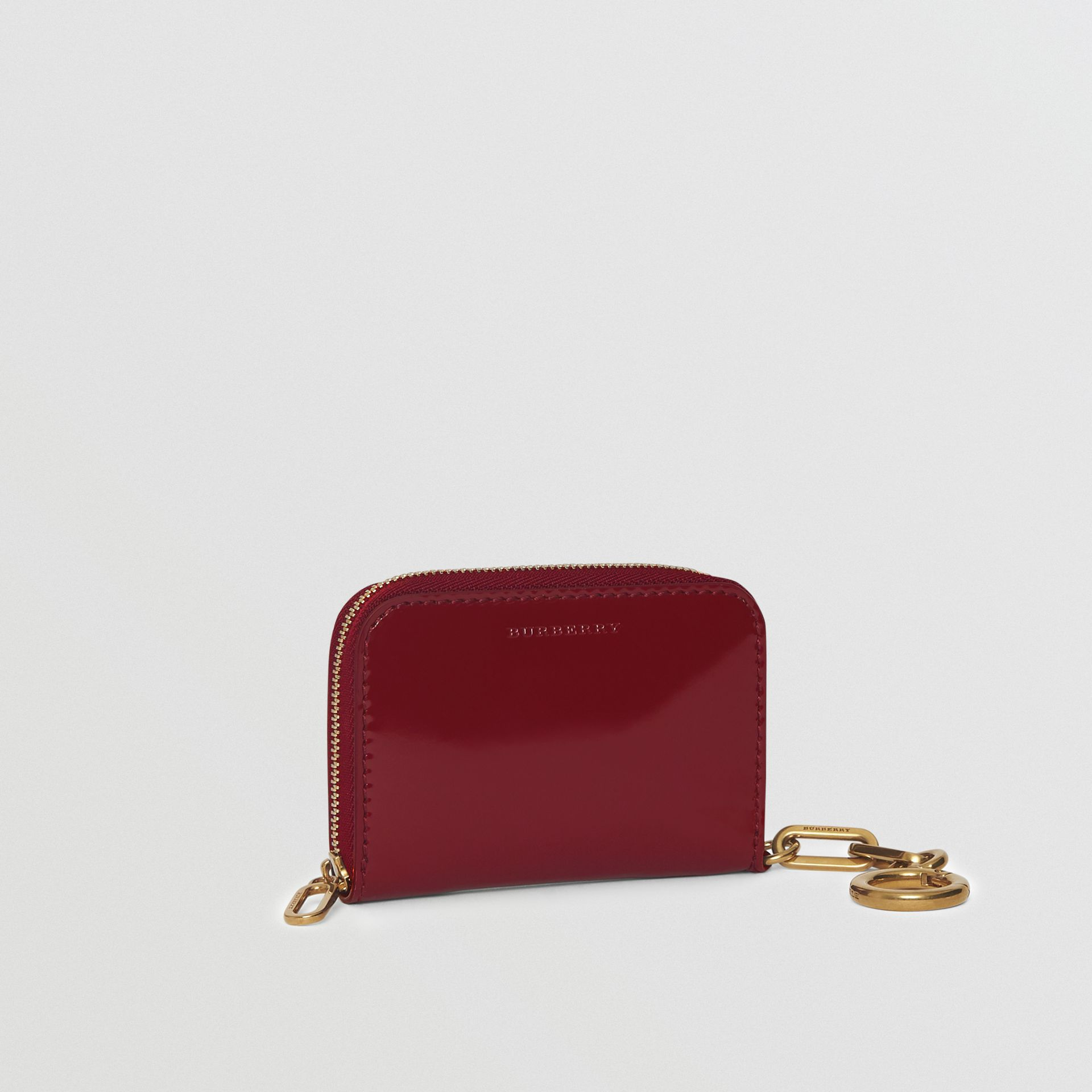 Link Detail Patent Leather Ziparound Wallet in Crimson - Women | Burberry Canada - gallery image 4