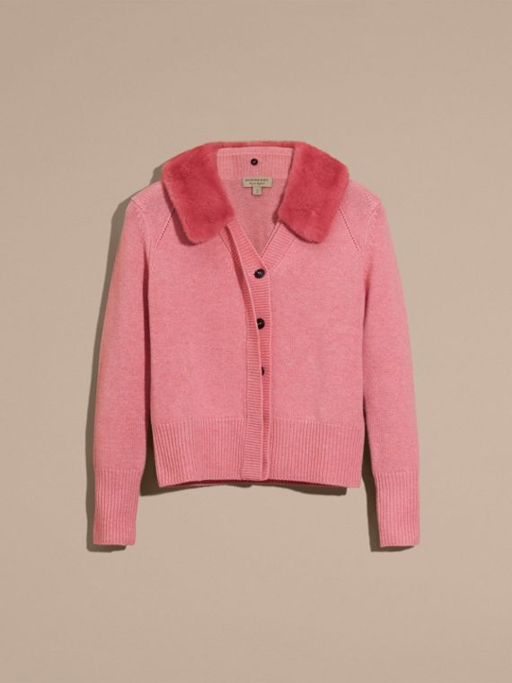 Hydrangea pink mel Mink Collar Cashmere Cardigan - cell image 3