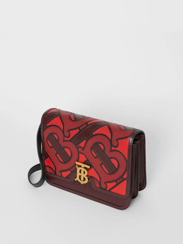 Medium Monogram Appliqué Leather TB Bag in Oxblood - Women | Burberry - cell image 3