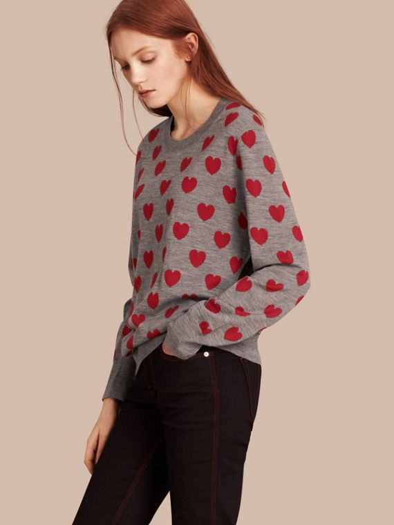 Suéter de lã Merino com estampa de corações Mid Grey Melange