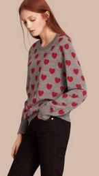 Heart Print Merino Wool Sweater