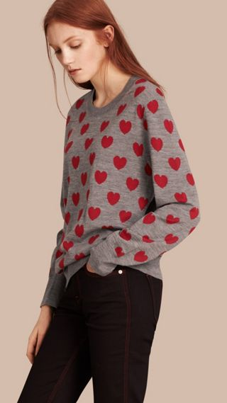 Heart Print Merino Wool Sweater
