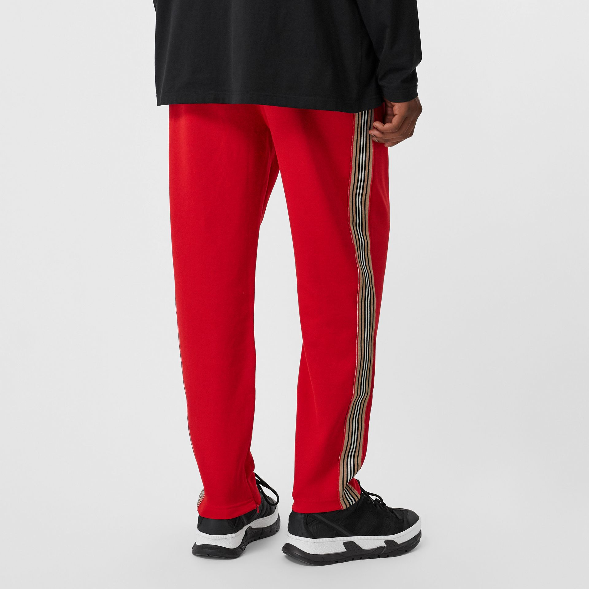 Icon Stripe Detail Jersey Trackpants in Bright Red - Men | Burberry United States - gallery image 2