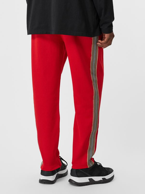 Icon Stripe Detail Jersey Trackpants in Bright Red - Men | Burberry - cell image 2