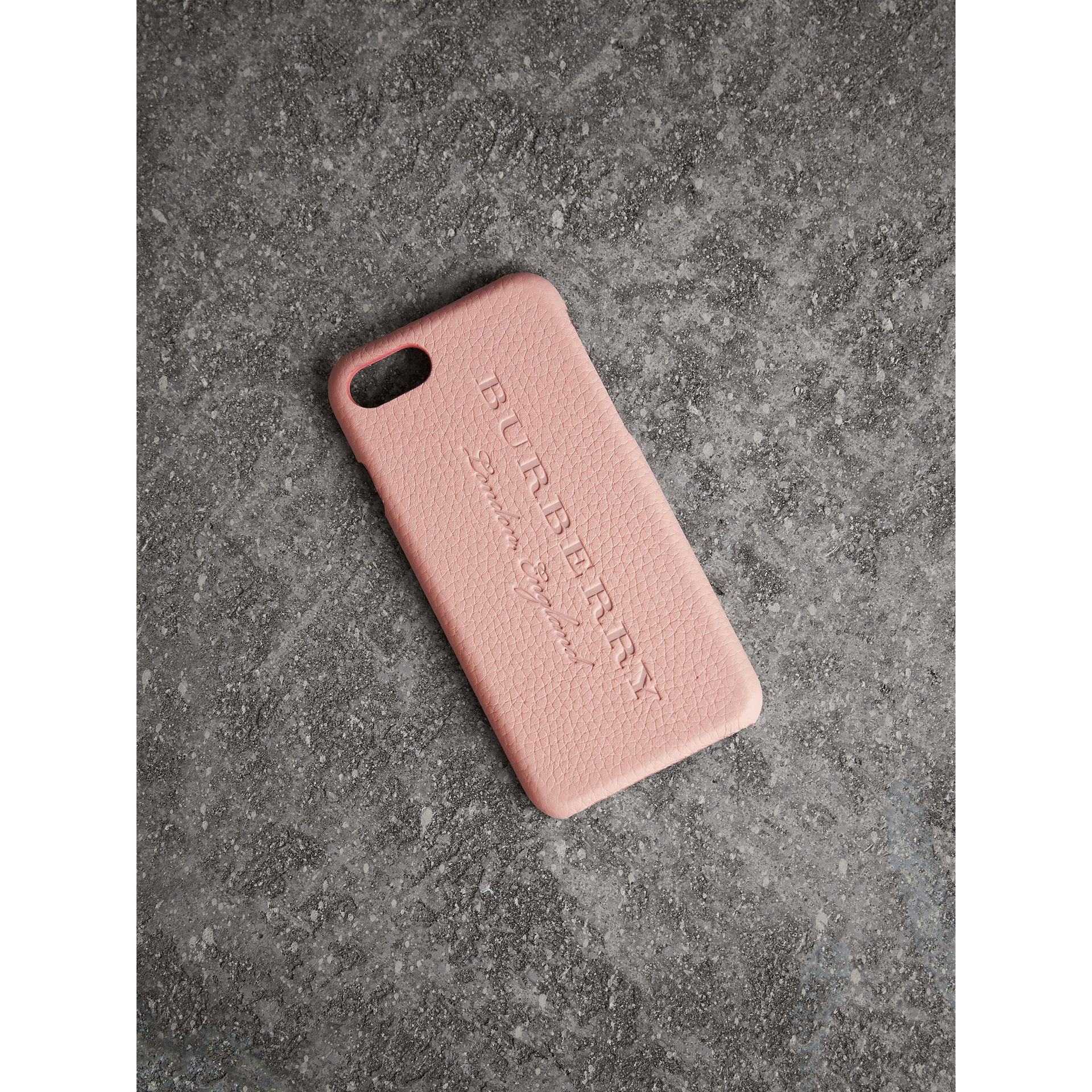 London Leather iPhone 7 Case in Pale Ash Rose | Burberry - gallery image 0