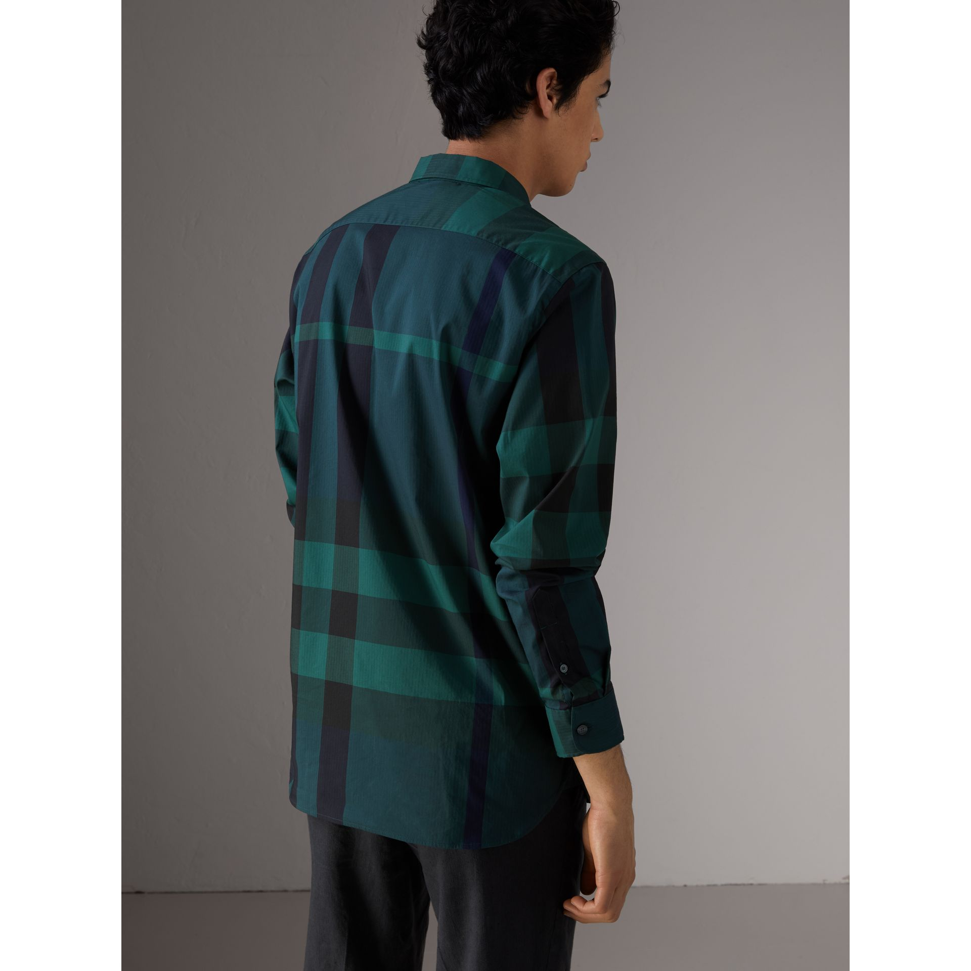 Button-down Collar Check Stretch Cotton Blend Shirt in Forest Green - Men | Burberry United States - gallery image 3
