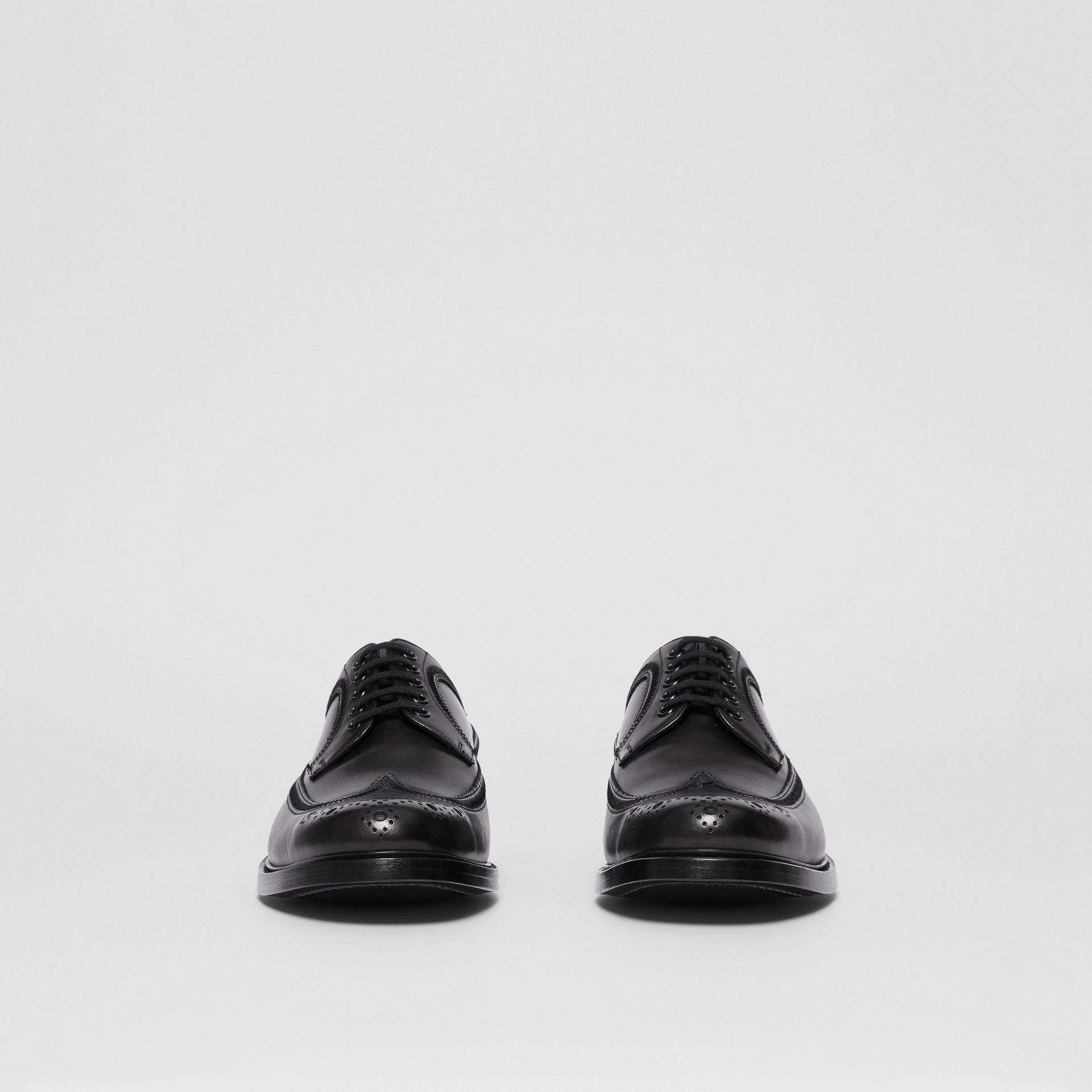 Brogue Detail Leather Derby Shoes in Black - Men | Burberry - gallery image 3