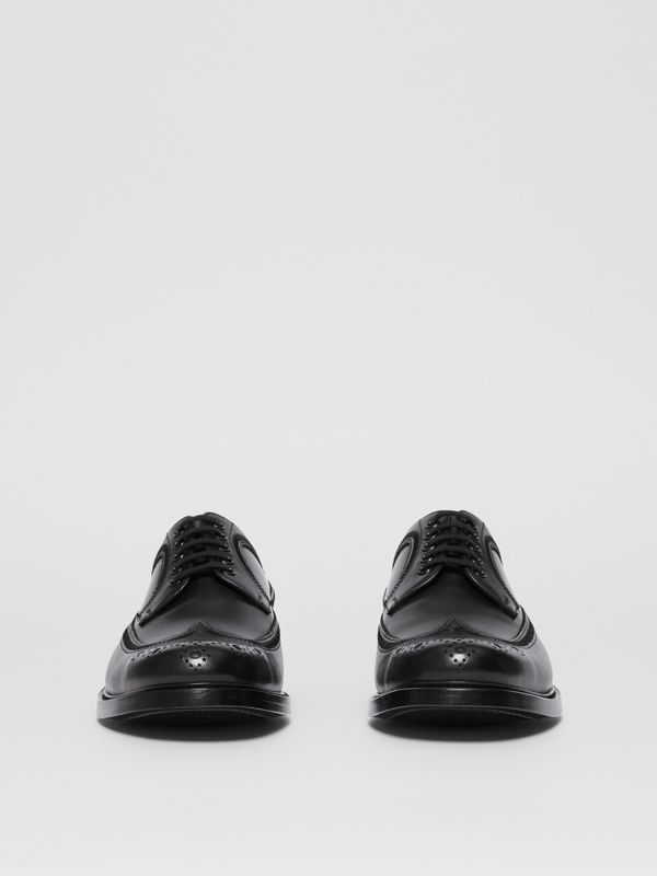 Brogue Detail Leather Derby Shoes in Black - Men | Burberry Canada - cell image 3