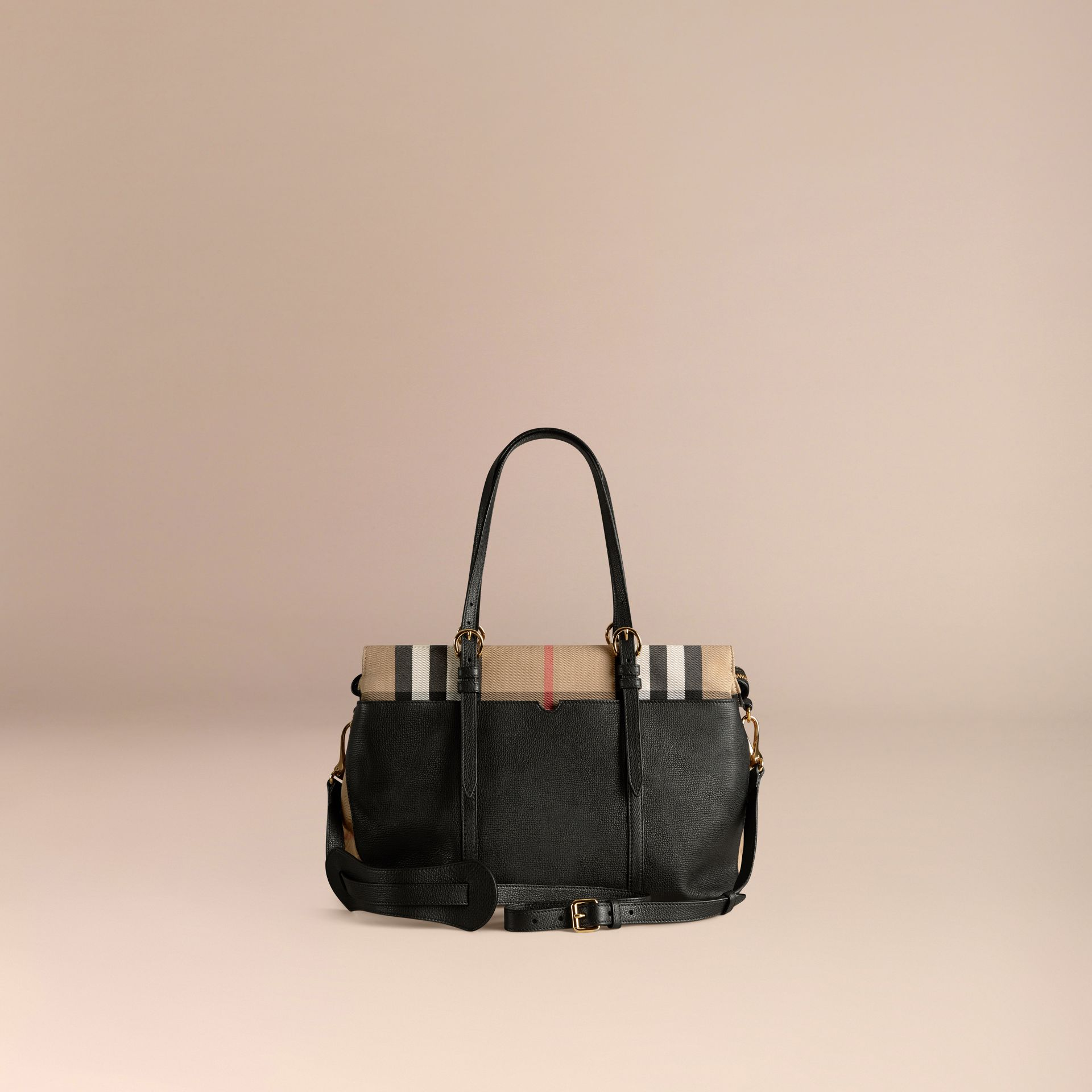 House Check and Leather Baby Changing Bag in Black - gallery image 5