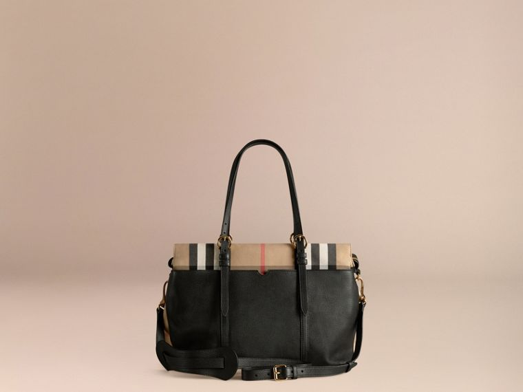 House Check and Leather Baby Changing Bag in Black - cell image 4