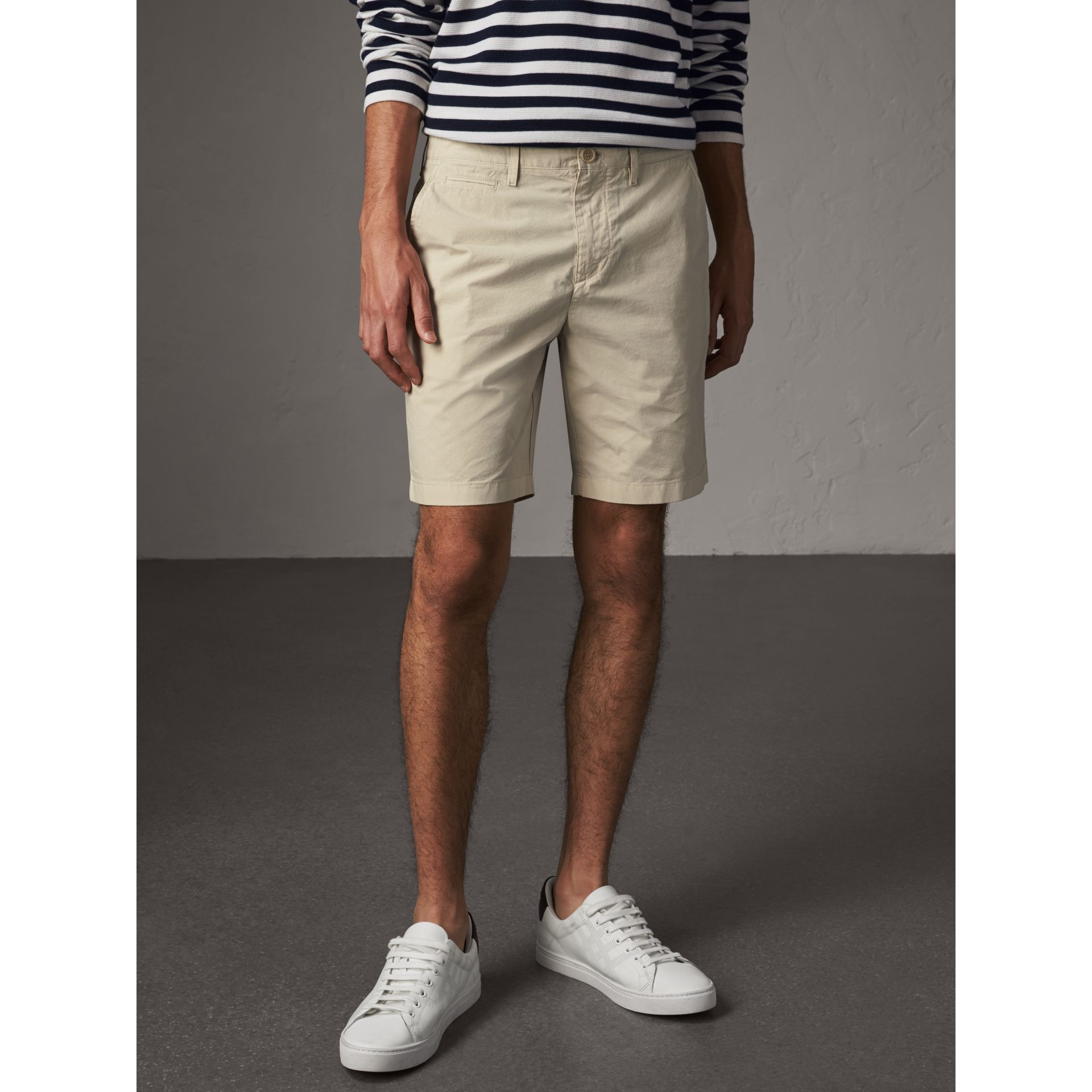 Cotton Poplin Chino Shorts in Stone - Men | Burberry - gallery image 5