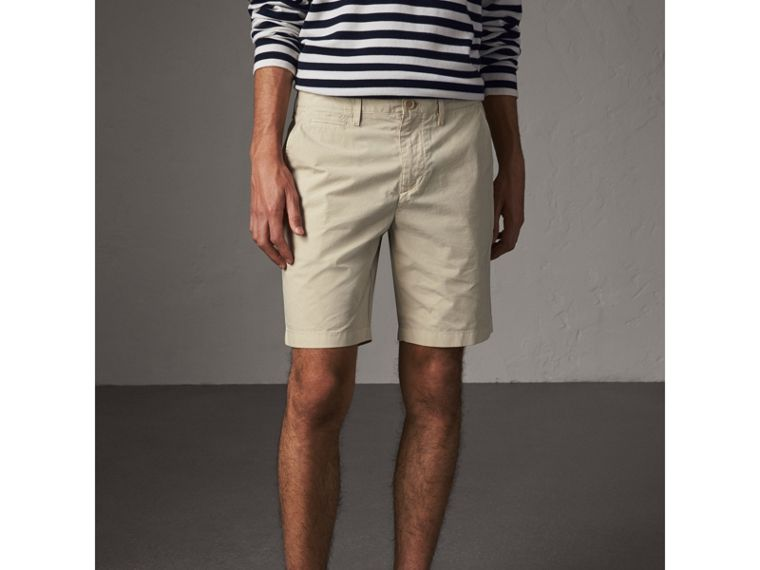Cotton Poplin Chino Shorts in Stone - Men | Burberry - cell image 4