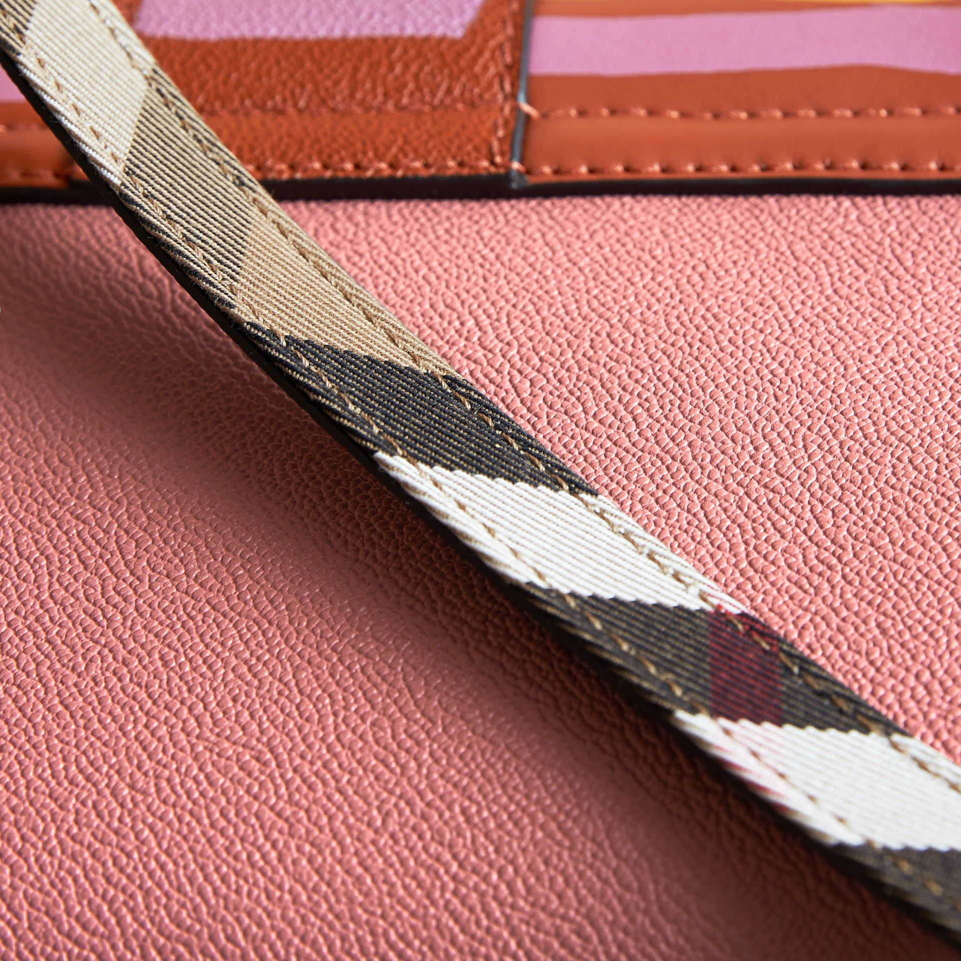 The Buckle Crossbody Bag in Trompe L'oeil Leather in Dusty Pink/bright Toffee - gallery image 6