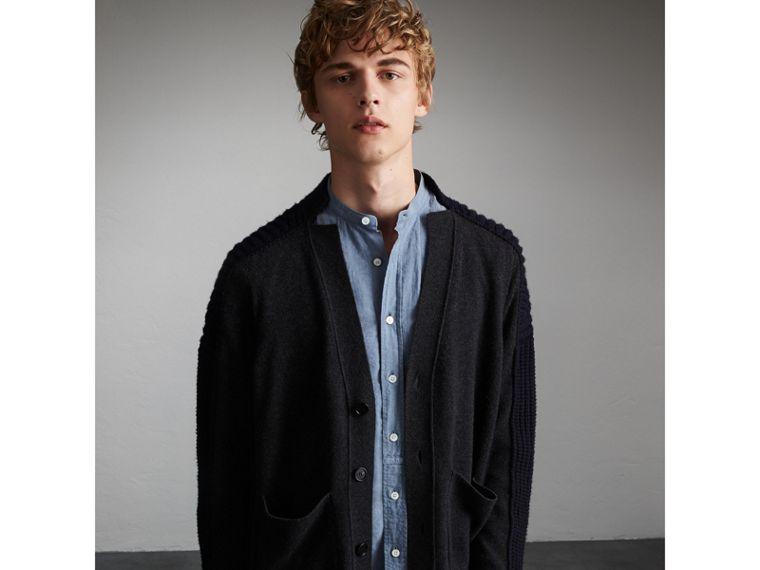 Two-tone Cashmere Cardigan with Ribbed Detail - Men | Burberry - cell image 4