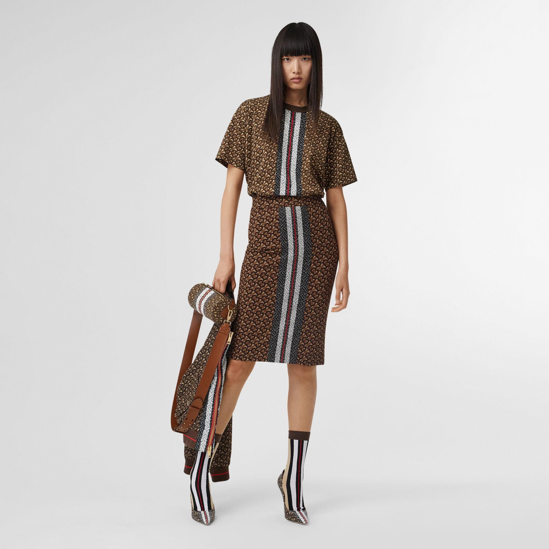 Monogram Stripe Print Cotton Oversized T-shirt in Bridle Brown - Women | Burberry Singapore - gallery image 0