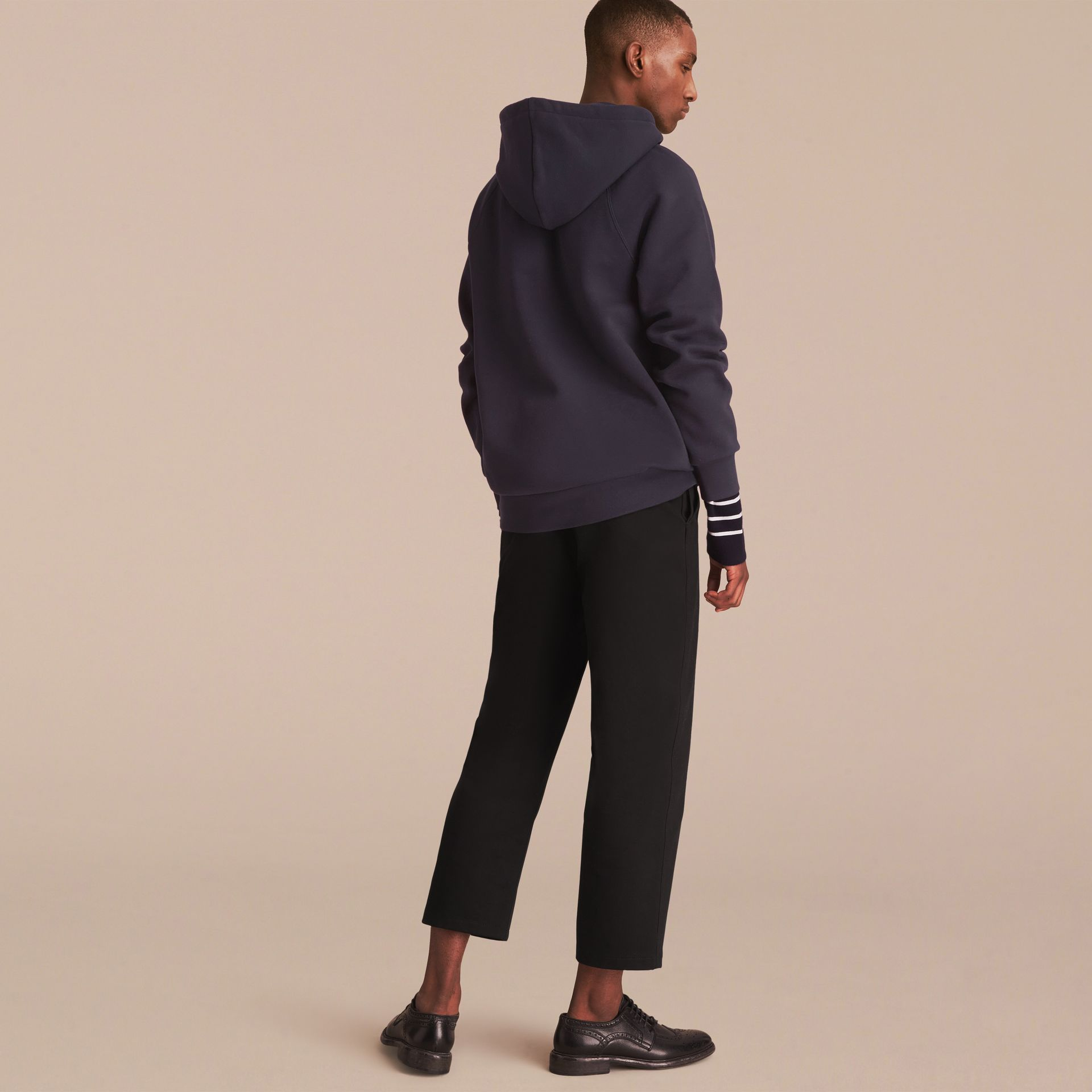 Embroidered Hooded Sweatshirt in Navy - gallery image 3