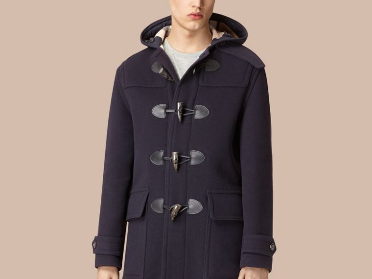 Wool-Blend Duffle Coat in Navy - Men | Burberry - cell image 4