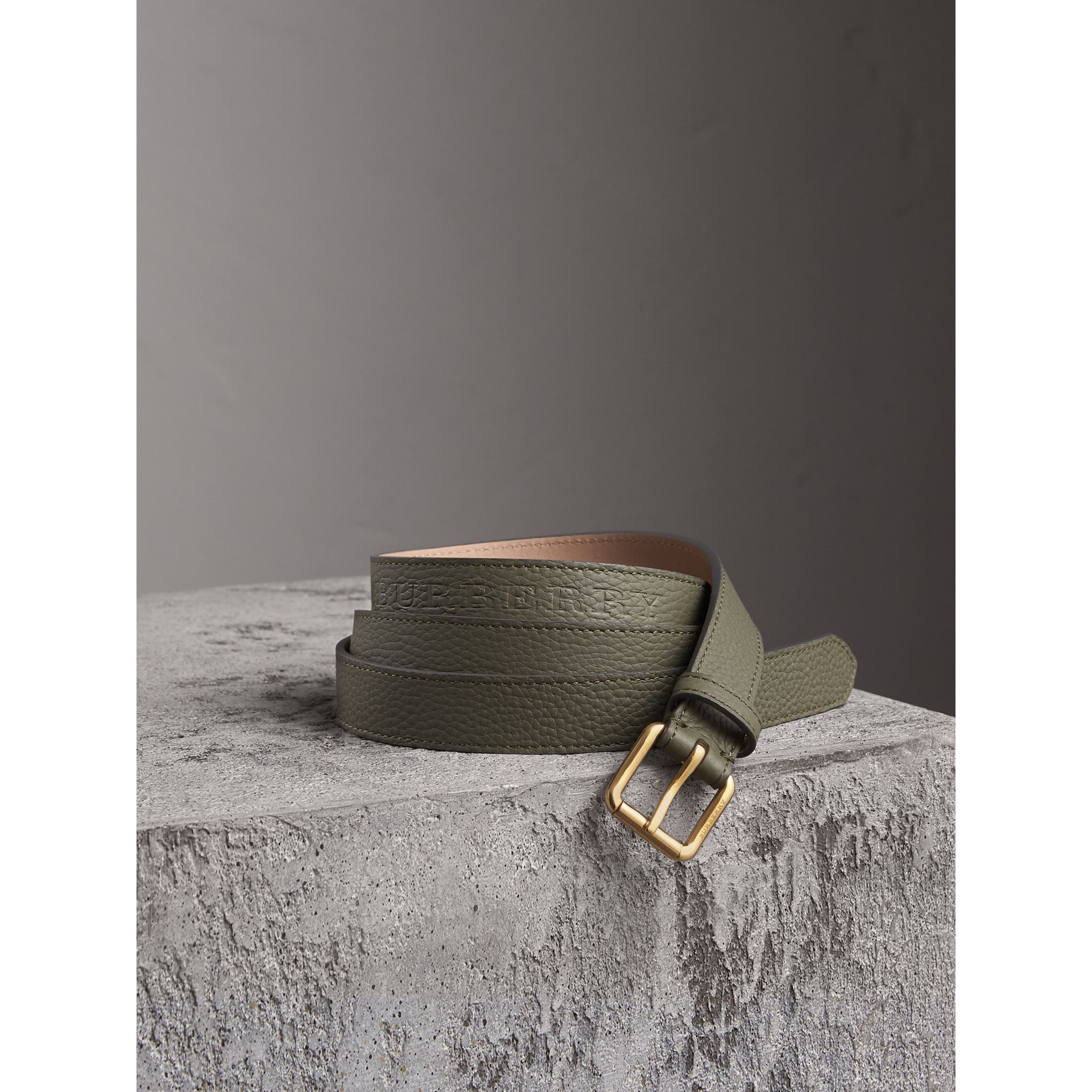 Embossed Leather Belt in Slate Green - Women | Burberry - gallery image 0