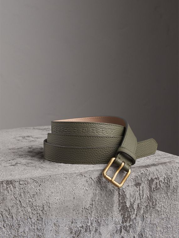 Embossed Leather Belt in Slate Green