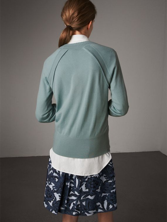 Open-knit Detail Cashmere Crew Neck Sweater in Eucalyptus Green - Women | Burberry Australia - cell image 2