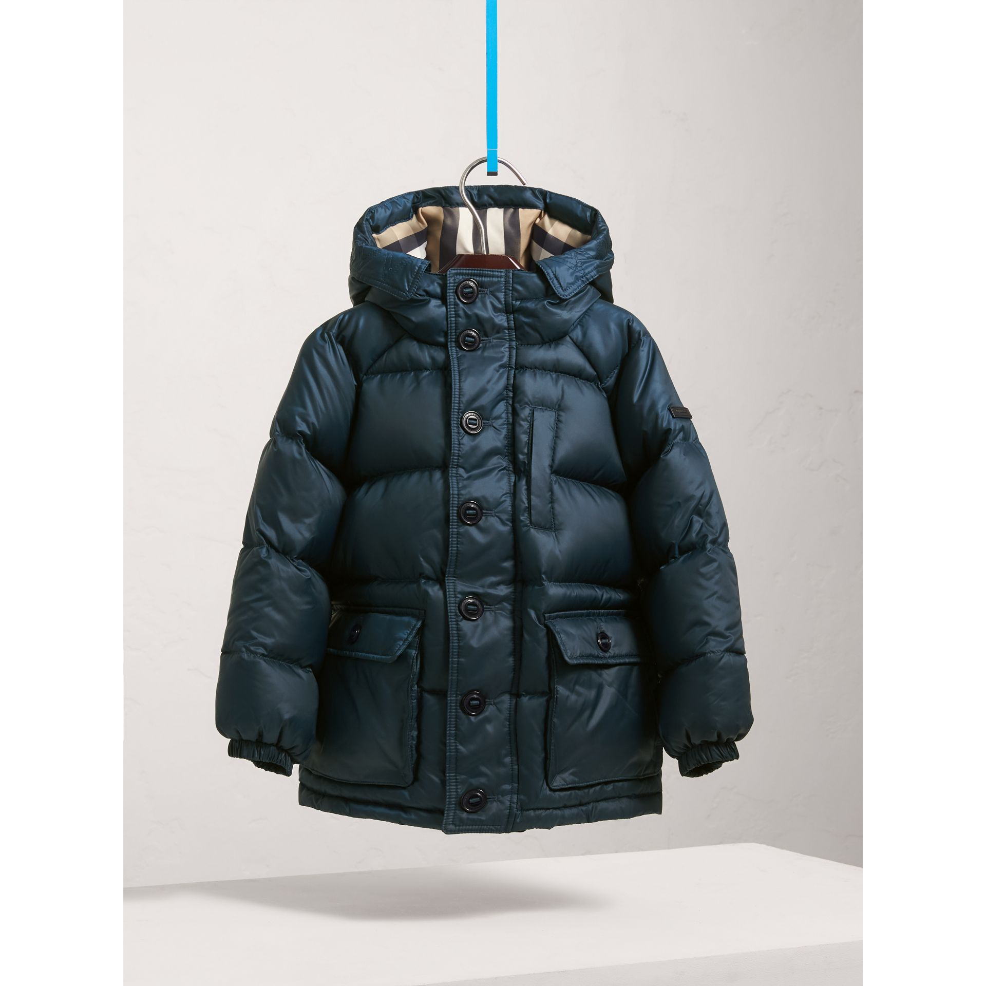 Shower-resistant Hooded Puffer Jacket in Ink Blue - Boy | Burberry - gallery image 2