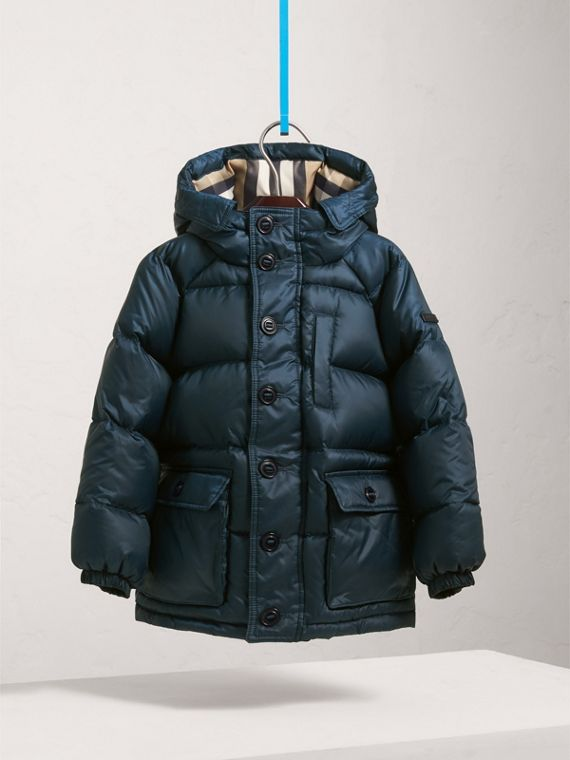 Shower-resistant Hooded Puffer Jacket in Ink Blue - Boy | Burberry - cell image 2