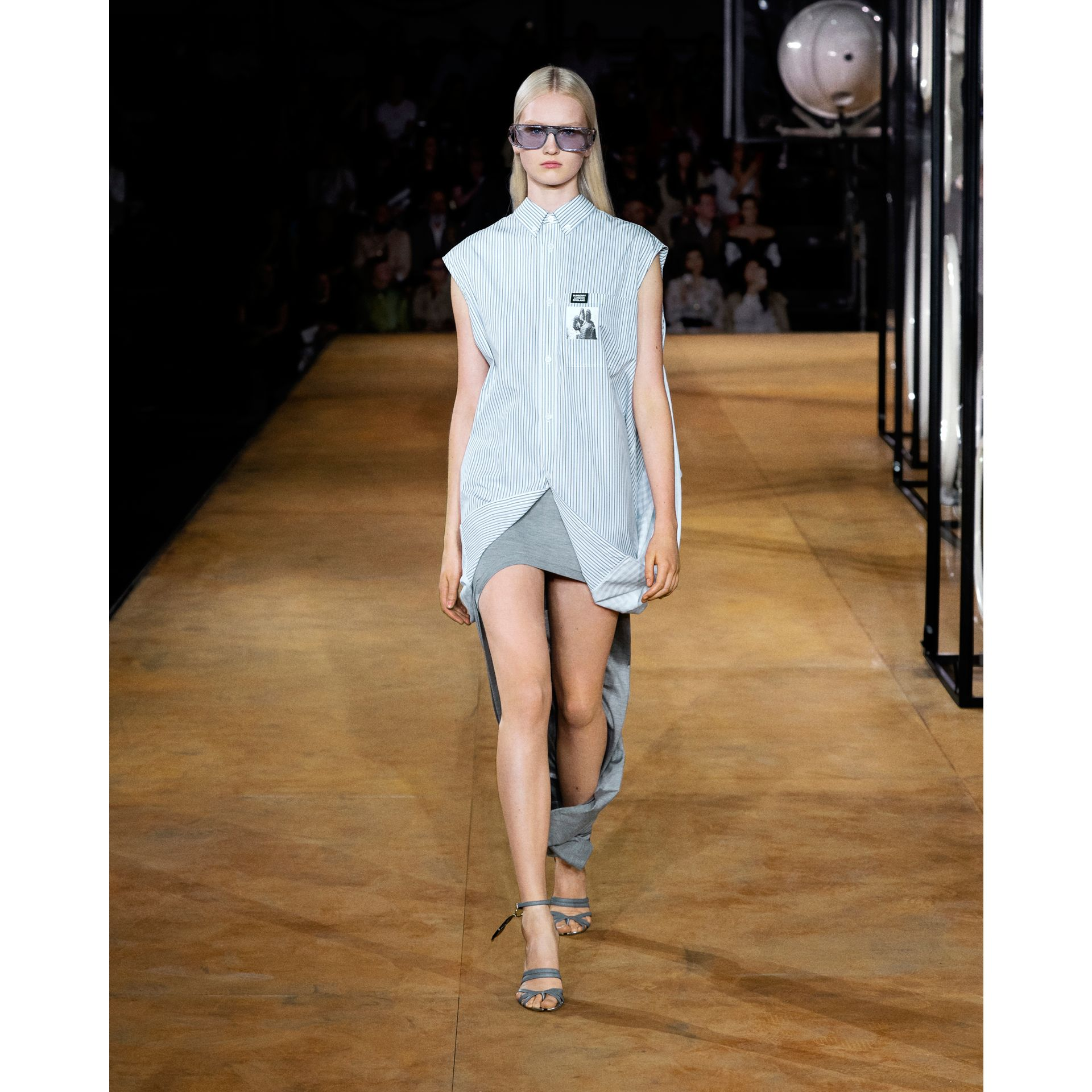 Striped and Gingham Oversized Double Shirt in Pale Blue - Women | Burberry United Kingdom - gallery image 6
