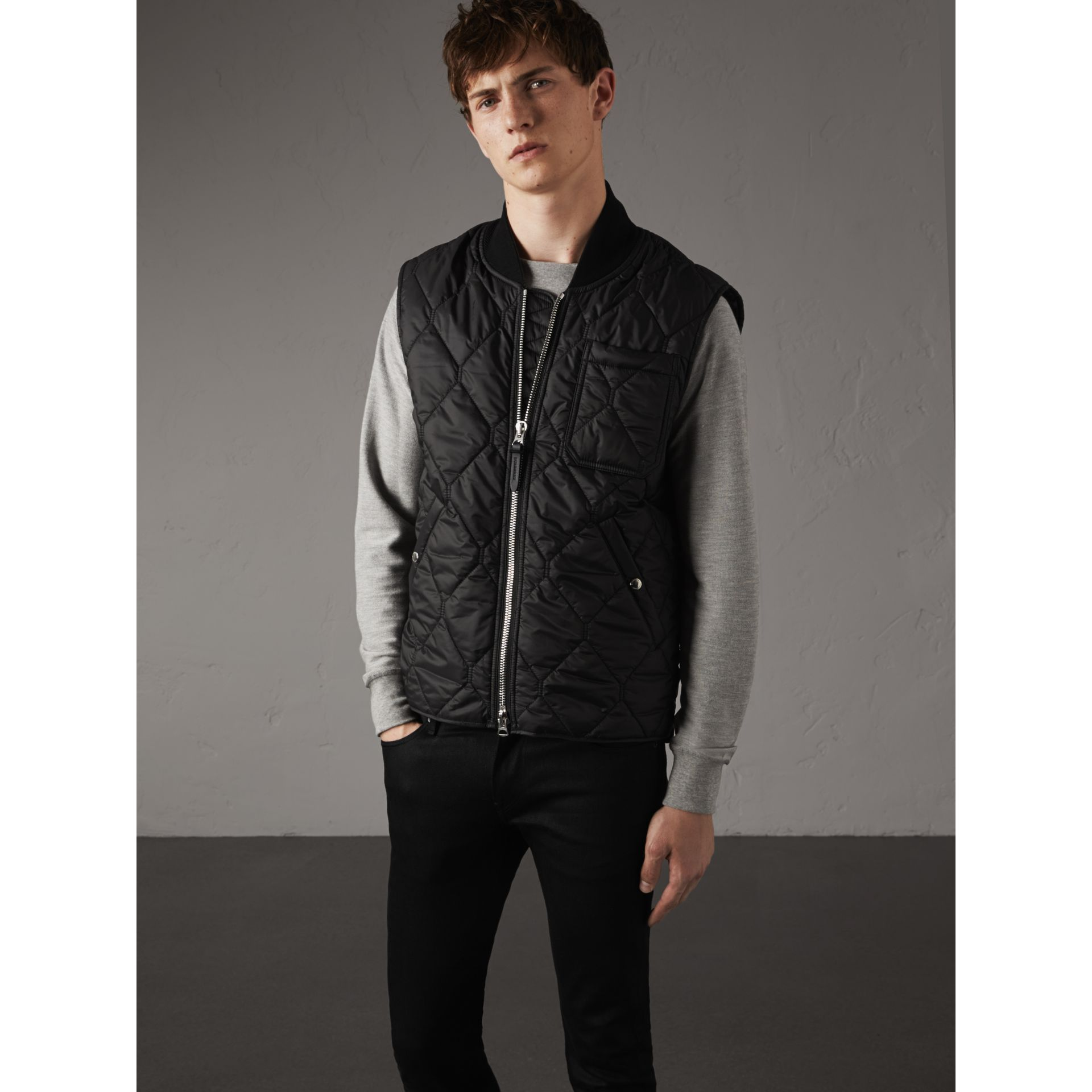 Diamond Quilted Gilet in Black - Men | Burberry - gallery image 5