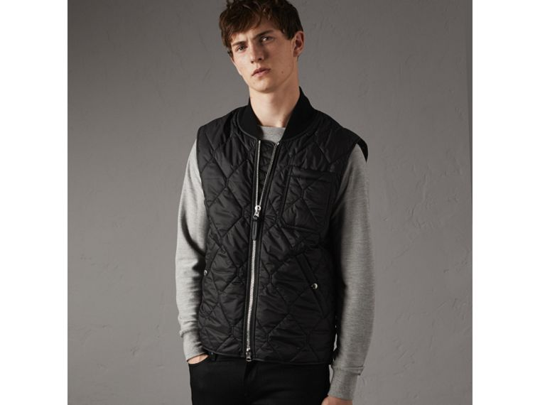 Diamond Quilted Gilet in Black - Men | Burberry Singapore - cell image 4