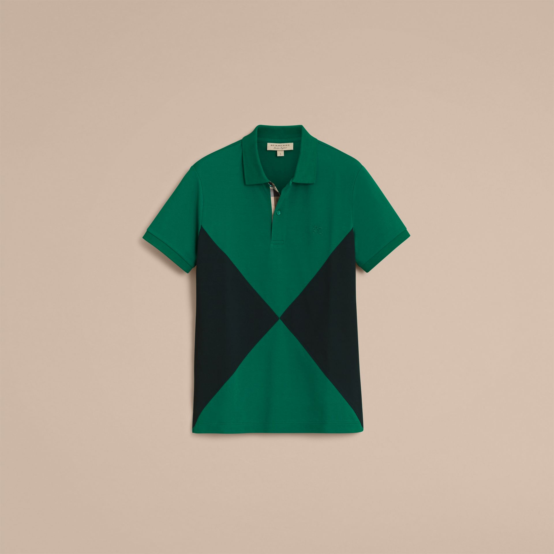 Geometric Motif Cotton Piqué Polo Shirt with Check Placket Bright Bottle Green - gallery image 4