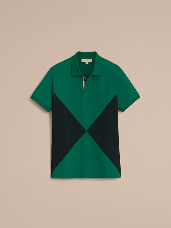 Geometric Motif Cotton Piqué Polo Shirt with Check Placket Bright Bottle Green - cell image 3