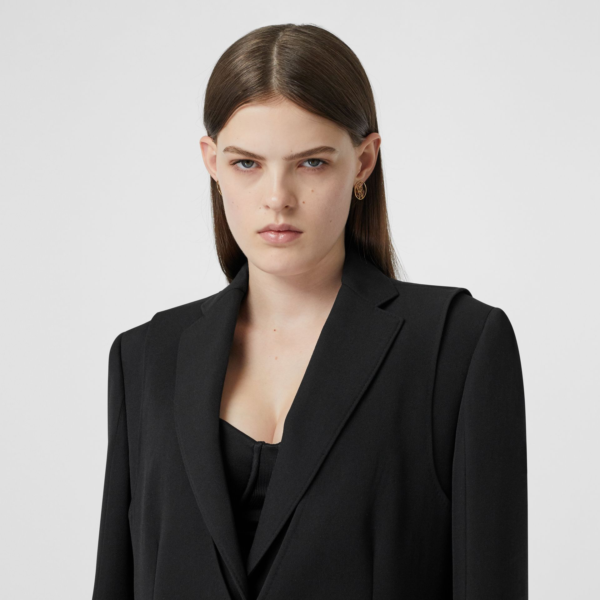 Waistcoat Detail Wool Tailored Jacket in Black - Women | Burberry - gallery image 6