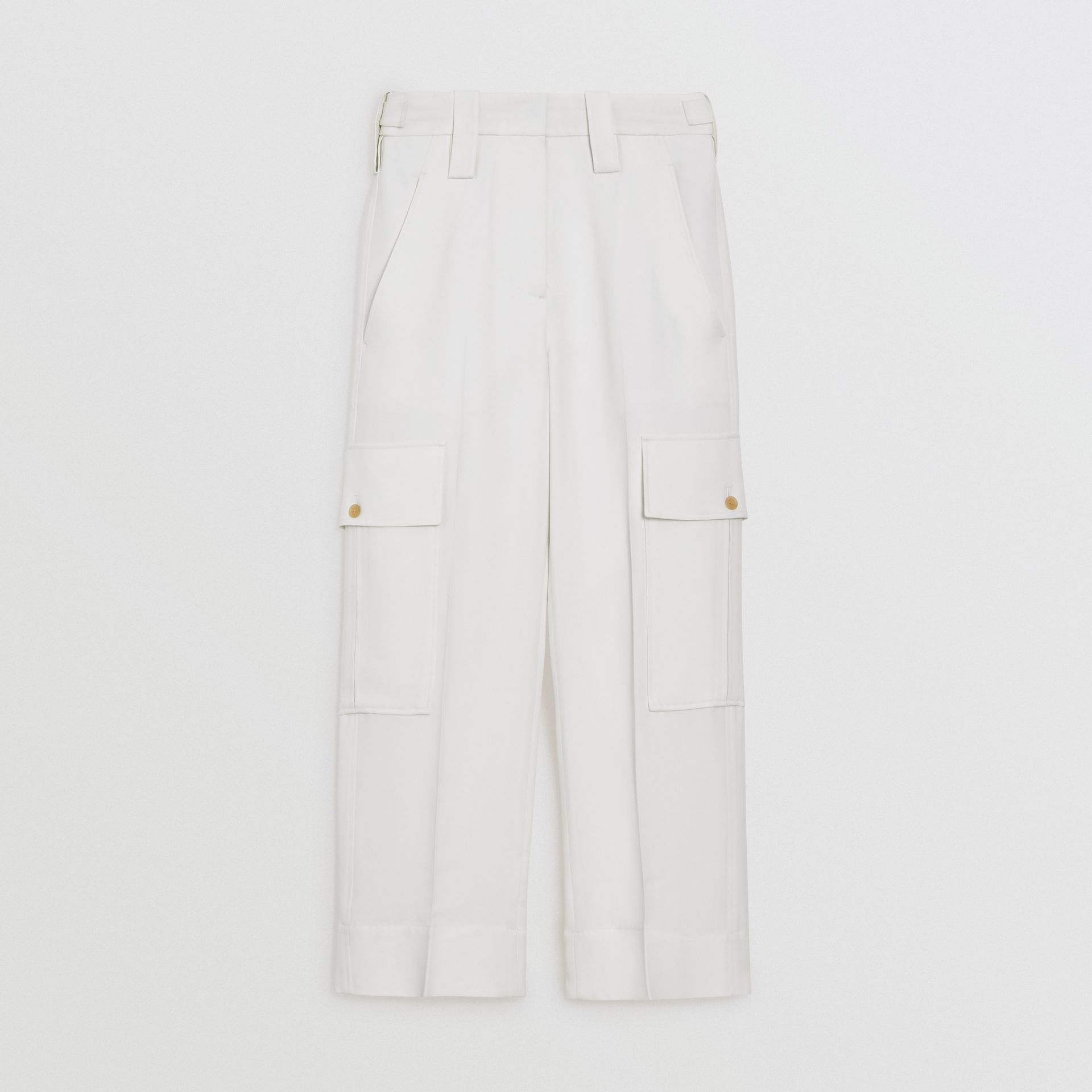Straight Fit Silk Wool Cargo Trousers in Natural White - Women | Burberry Canada - gallery image 3