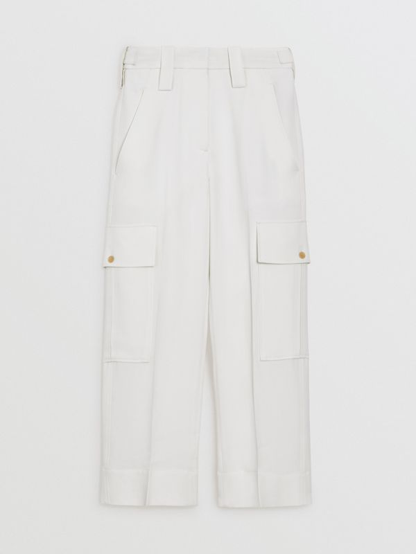 Straight Fit Silk Wool Cargo Trousers in Natural White - Women | Burberry Canada - cell image 3