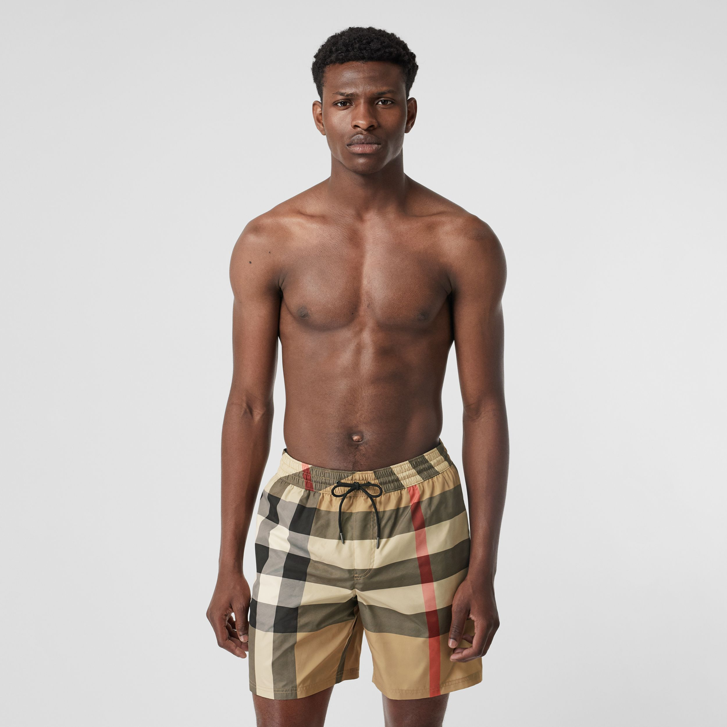 Check Drawcord Swim Shorts in Archive Beige - Men | Burberry Hong Kong S.A.R - 1