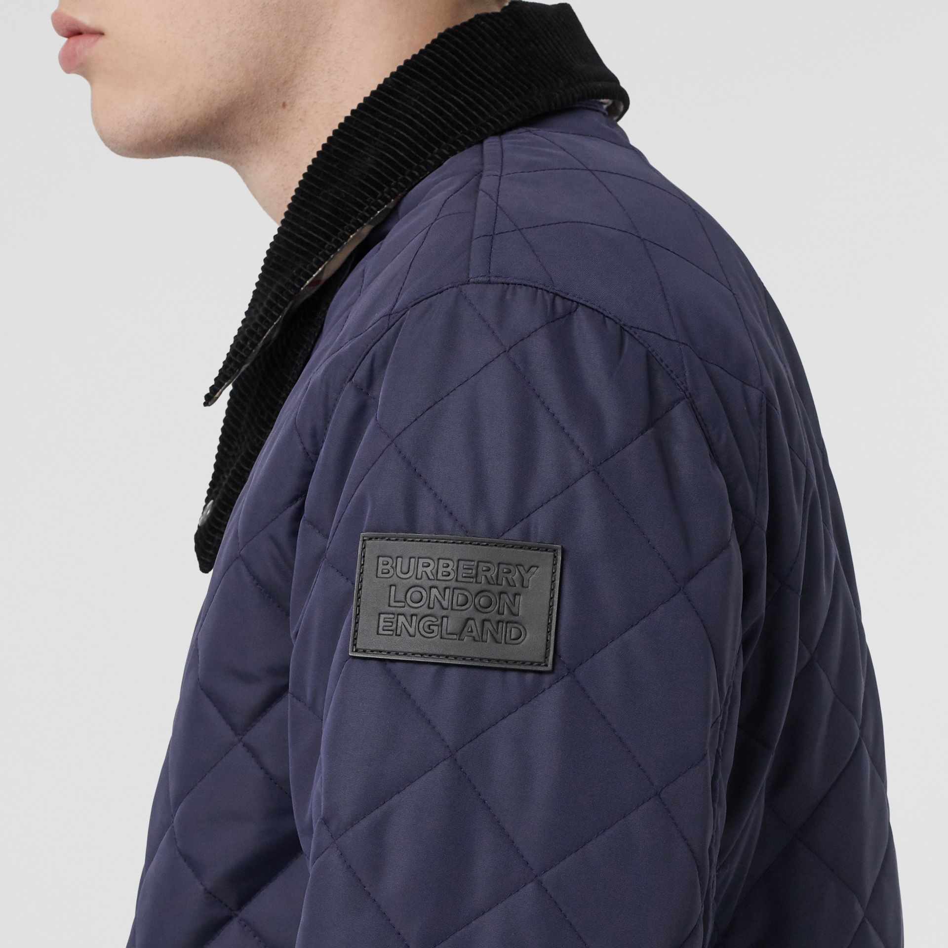 Diamond Quilted Thermoregulated Barn Jacket in Navy - Men | Burberry United Kingdom - gallery image 5